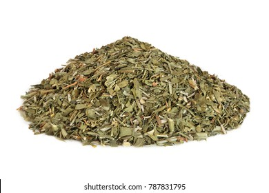 Rue leaf herb used in alternative herbal medicine to treat sprains, injuries of the cartilage and tendons around joints, sciatica and has other health benefits. Ruta graveolens.