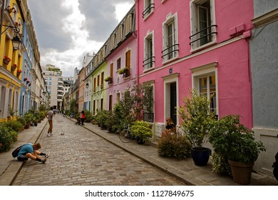 Rue Crémieux, Paris, France - July 5, 2018: Rue Cremieux in the 12th Arrondissement is one of the prettiest residential streets in Paris.