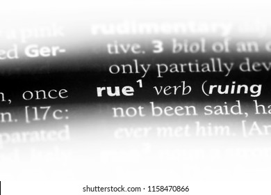 rue word in a dictionary. rue concept.
