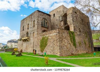 Ruedesheim am Rhein, Germany - April 05, 2018: Broemserburg in Ruedesheim. It is the oldest castle in the rhine gorge world heritage site region