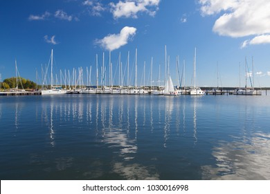 Ruegen Island,Germany: September 27,2015: White yachts in the harbor on the Ruegen Island, Germany.  Ruegen island is the largest seaside resort in Germany.