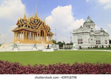 Ruenyod Mangkalanusoranee Pavilion Thai style to celebrate 70 years King Rama IX of Thailand taking to the Throne and Ananda samakom Hall