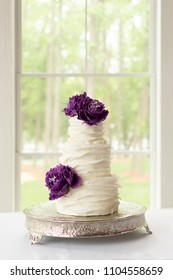 Ruffle Wedding Cake With Edible Purple Sugar Flowers