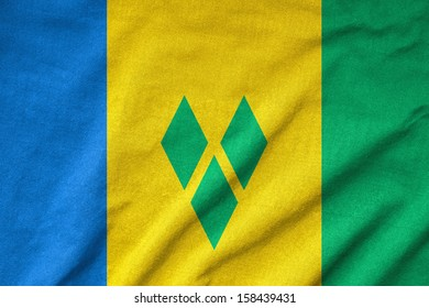 Ruffled Saint Vincent and the Grenadines Flag