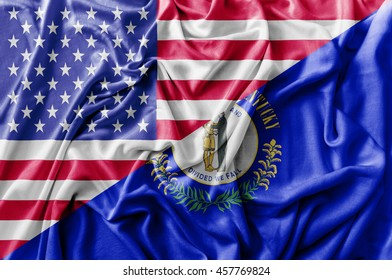Ruffled waving United States of America and Kentucky flag