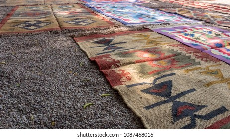 Rug in Indian Village, Carpet made by hands