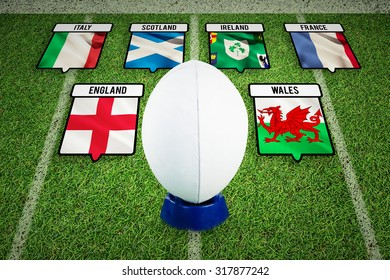 rugby ball against pitch with lines