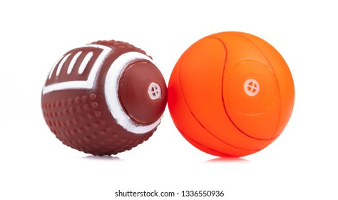Rugby ball with basketball isolated on white background