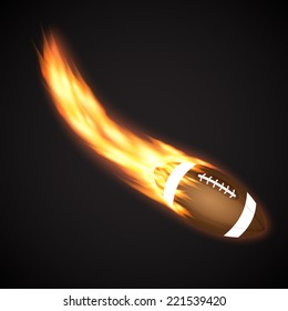 Rugby ball with fire. Sport background