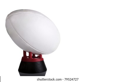 Rugby ball on white with copy space on ball