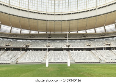Rugby goal post in a empty stadium