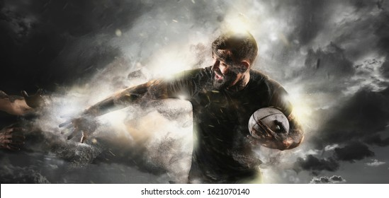 Rugby player in action on dark arena background