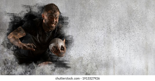 Rugby player in action on wall background. Sports banner. Horizontal copy space background