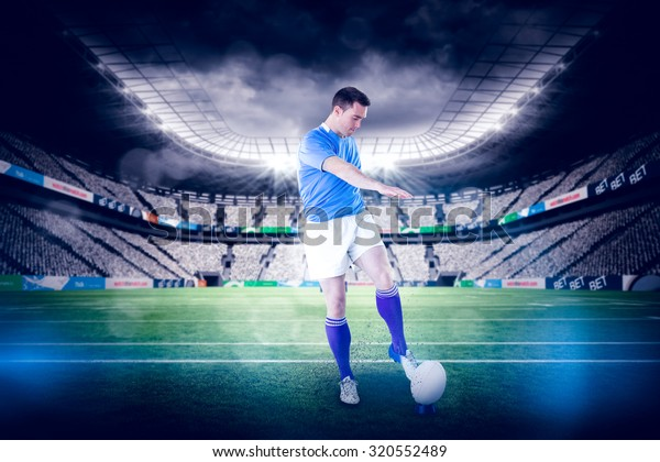 Rugby Player Doing Drop Kick Against Stock Photo (Edit Now