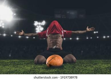 Rugby player man happy celebration winner on stadium background