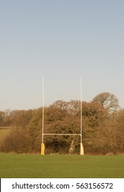 Rugby Posts in the Rural Market Town of Chulmleigh in Devon, England, UK