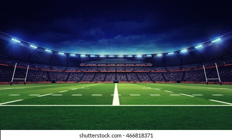 rugby stadium with fans and green grass playground, sport theme three dimensional 3D illustration