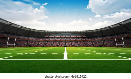 rugby stadium with fans and green grass at daylight, sport theme three dimensional 3D illustration
