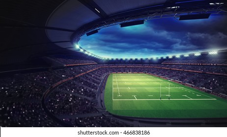 rugby stadium with fans under roof with spotlights, sport theme three dimensional render illustration