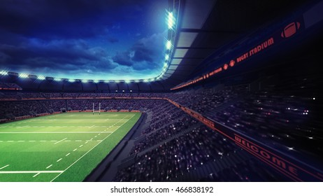 rugby stadium with fans under roof tribune view, sport theme three dimensional render illustration