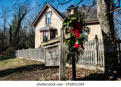 Rugby, Tennessee USA December 6 2020: Historic Rugby Tennessee is a failed Utopian Society with historic victorian era buildings with Christmas decor