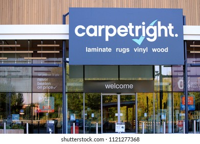Rugby, Warwickshire / England - June 26 2018: Carpetright shop front, reports £70m profit loss