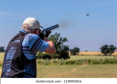Rugby Warwickshire UK 07/07/2018. Clay Pigeon Shooting at Cosford Shooting Grounds. Skeet Shooting