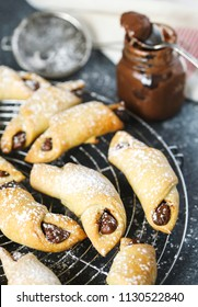 Rugelach with chocolate filling. Traditional Jewish holiday cookie