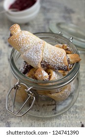 Rugelach with Raspberry jam filling in a jar