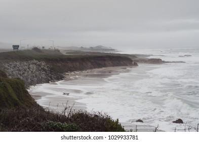 Rugged beach on a misty day