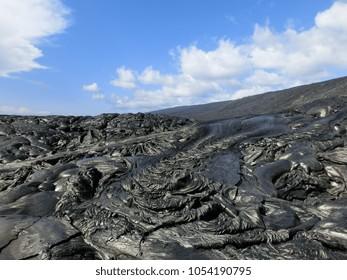 Rugged black lava rock formation Hawaii volcano national park