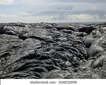 Rugged black lava rock formation Hawaii volcano national park