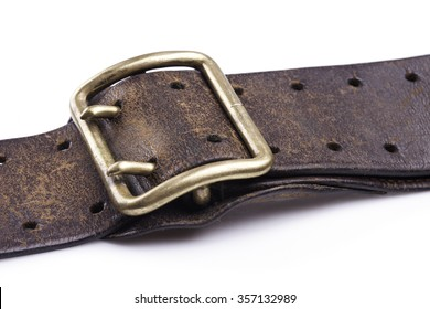 Rugged Brown Leather Jean Belt with Isolated on White