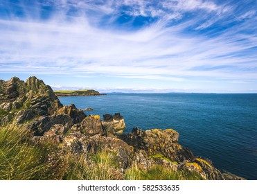 Rugged coastline of the Isle of Whithorn in Scotland.