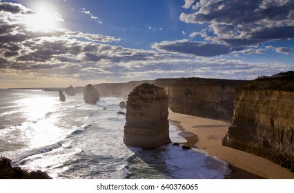 Rugged coastline with pillars of limestone eroded by the ocean. Twelve Apostles Marine National Park in Victoria, Australia.
