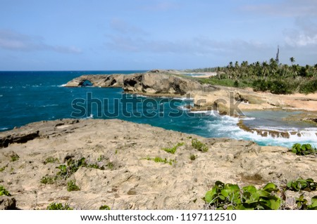 rugged headlands and landscape of puerto rico's north coast at punta las tunas