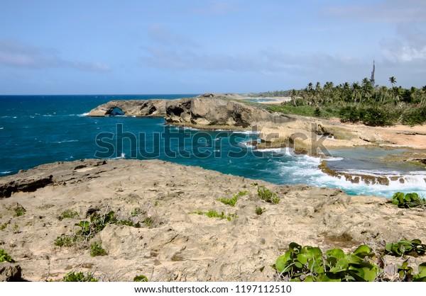 rugged headlands and landscape of puerto rico's north coast at punta las tunas
