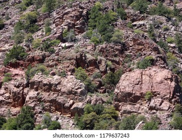 Rugged high desert mountainside landscape; Tonto Natural Bridge State Park in Arizona