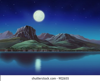 Rugged Hill with Moon