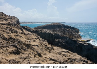 rugged landscape and rocky outcrops along north coast of puerto rico at punta las tunas and cueva del indio