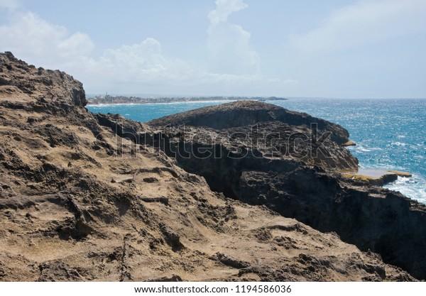 rugged landscape and rocky outcrops along north coast of puerto rico at punta las tunas and cueva del indio