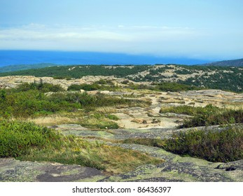 A rugged landscape at a scenic overlook on Cadillac Mountain in Acadia National Park in Maine, with pink granite boulders, lichen and low shrubbery, and glistening ocean below.