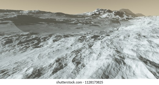 Rugged Martian polar terrain - 3D Illustration