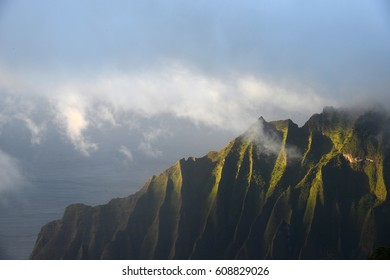 Rugged mountain at Kauai sunset