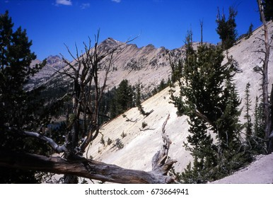 Rugged mountains, sparse conifer forest and high mountain lake in the  Sawtooth Mountain Range of  Idaho
