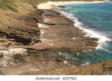 Rugged Pacific Ocean coastline in Makaha, Oahu, Hawaii