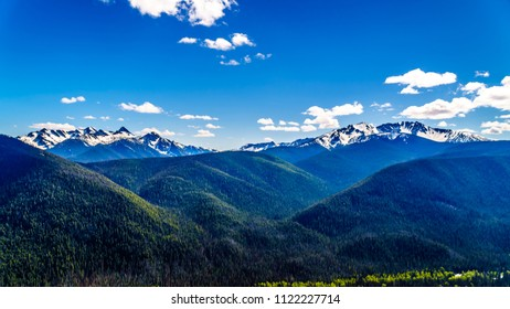 Rugged Peaks of the Cascade Mountain Range on the US-Canada border as seen from the Cascade Lookout viewpoint in EC Manning Provincial Park in British Columbia, Canada