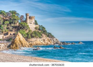 Rugged rocky coast, Lloret de Mar, Costa Brava, Catalonia, Spain