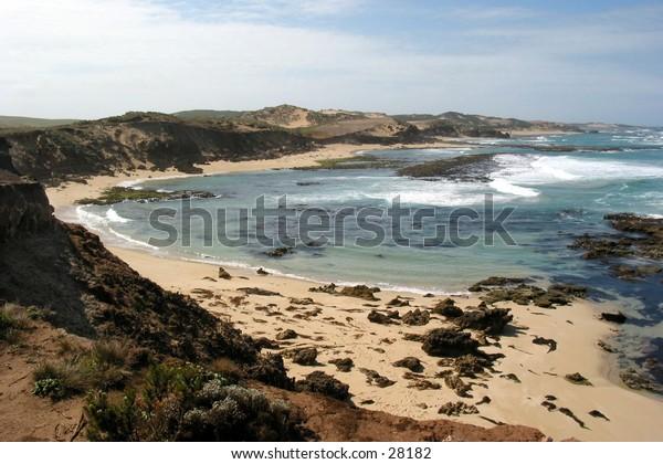 A rugged shoreline...