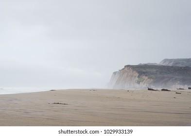 Rugged shoreline in California on a gloomy foggy day